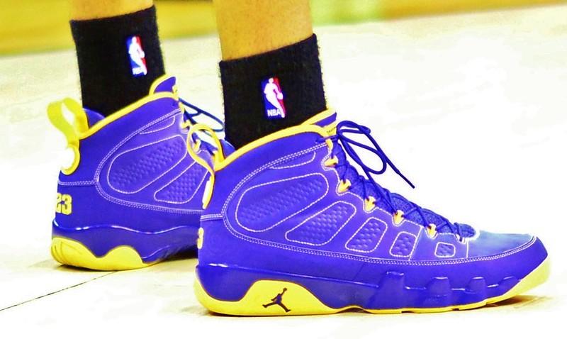 Bright blue and yellow Air Jordan sneakers.