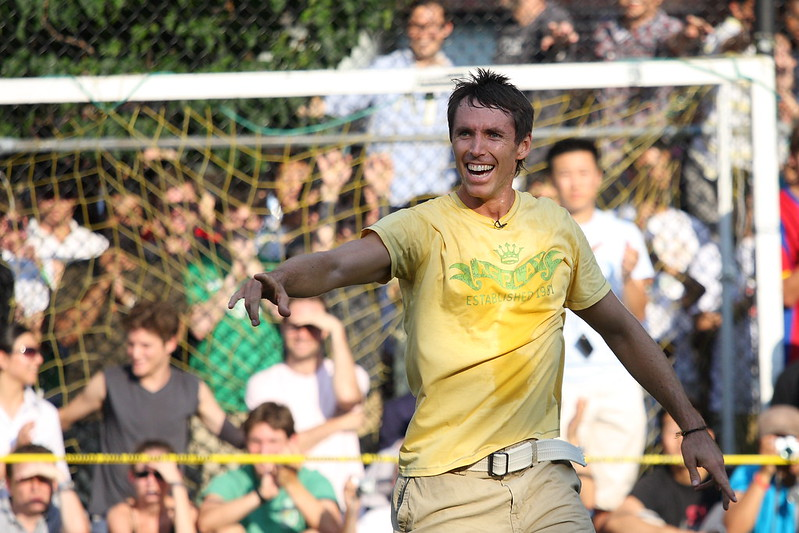 NBA star player and now coach Steve Nash on a soccer field.