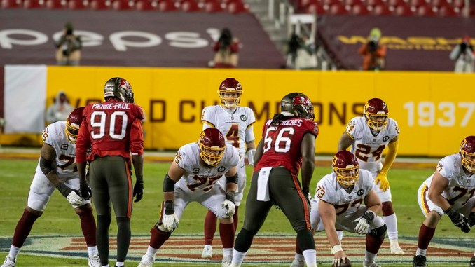NFL Tampa Bay Buccaneers defense playing the Washington Football Team in the playoffs.
