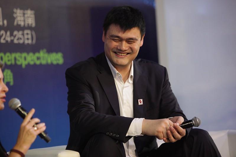 Legendary NBA Houston Rockets center Yao Ming giving an interview.
