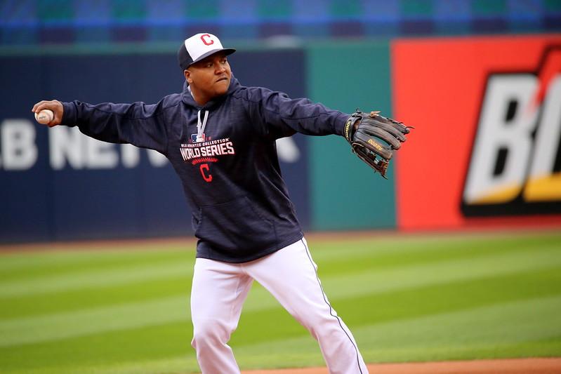 MLB Cleveland Indians third baseman Jose Ramirez warming up before the World Series.