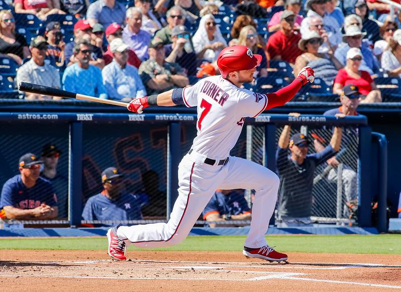 MLB Washington Nationals shortstop Trea Turner hitting a home run.