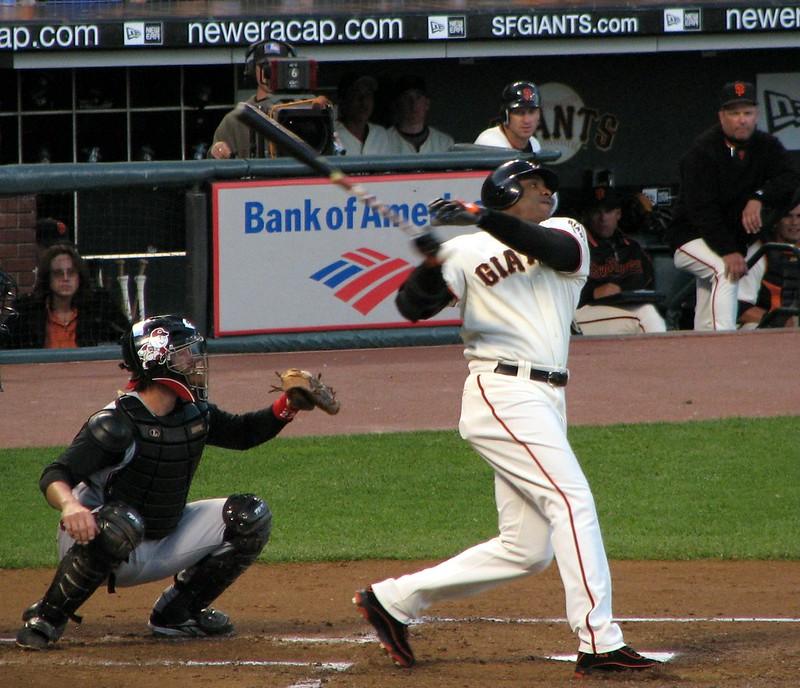 San Francisco Giants legendary hitter Barry Bonds up at bat.