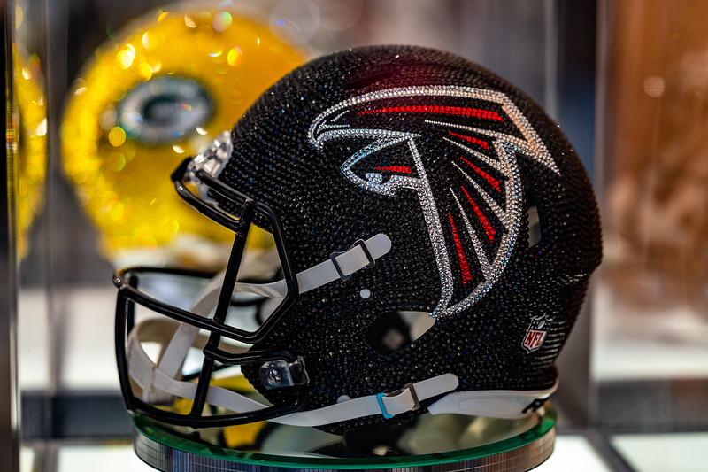 The Atlanta Falcons rhinestone helmet at the 2021 NFL Draft Experience in Cleveland, Ohio.