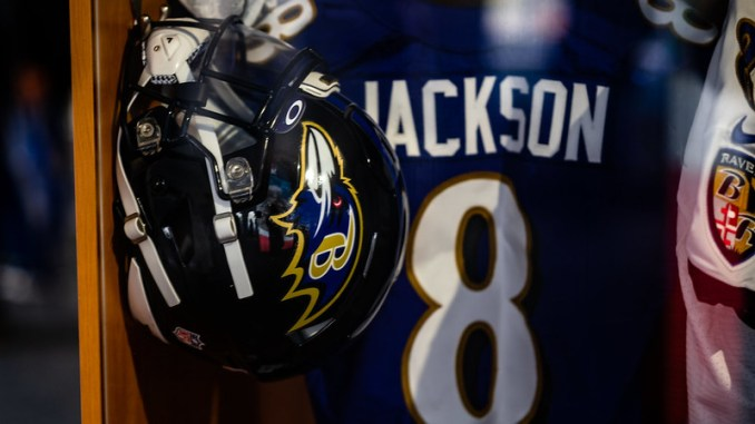 Baltimore Ravens quarterback Lamar Jacksons locker at the 2021 NFL Draft Experience in Cleveland, Ohio.