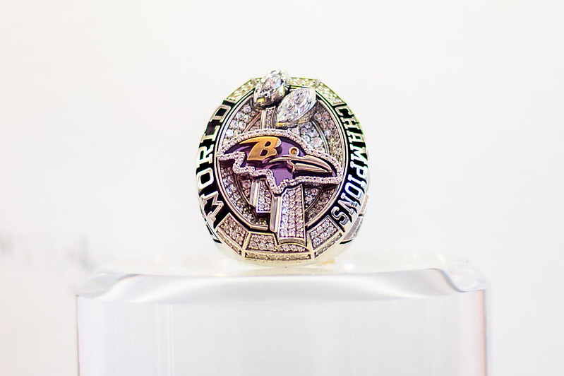 Baltimore Ravens Super Bowl ring from the 2021 NFL Draft Experience in Cleveland, Ohio.
