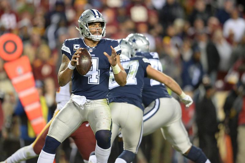 NFL Dallas Cowboys quarterback Dak Prescott getting ready to throw the football in a game.