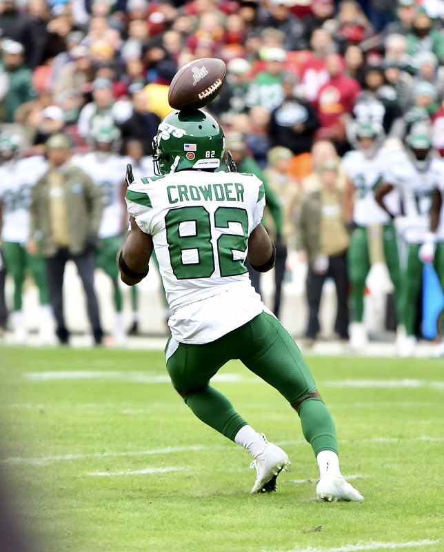 New York Jets wide receiver Jamison Crowder making a play on the football field.