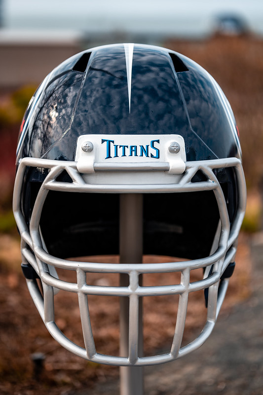 A gigantic Tennessee Titans helmet on display outside at the NFL Draft Experience in Cleveland, Ohio.