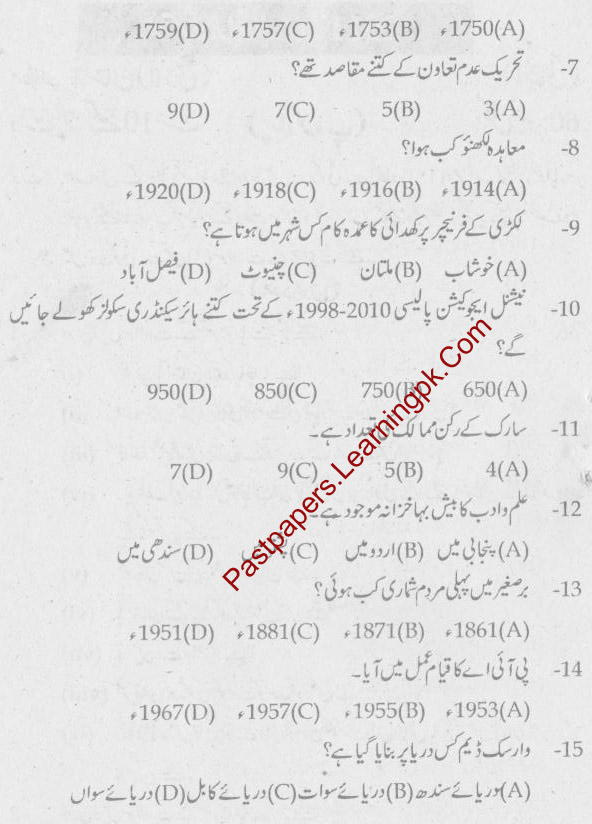 Gujranwala Board 10th Class Pak Study Past Paper, Old