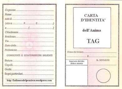 CARTA D'IDENTITA' dell'Anima TAG