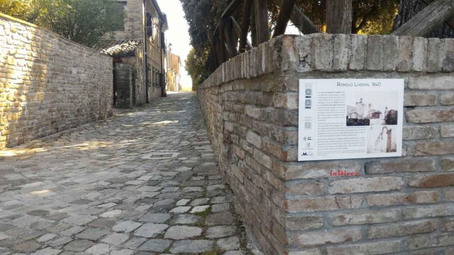 Novilara (Pesaro e Urbino), uno dei pannelli illustrativi collocati in paese (Romolo Liverani 2)