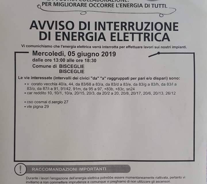 Mercoledì mancherà l'energia elettrica in via Vecchia Corato ed altre strade vicine