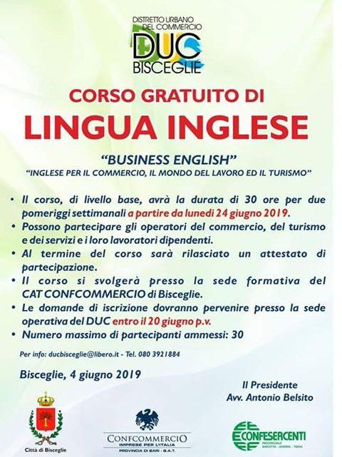 Primo corso di inglese promosso dal Duc-Bisceglie: raggiunte 60 iscrizioni