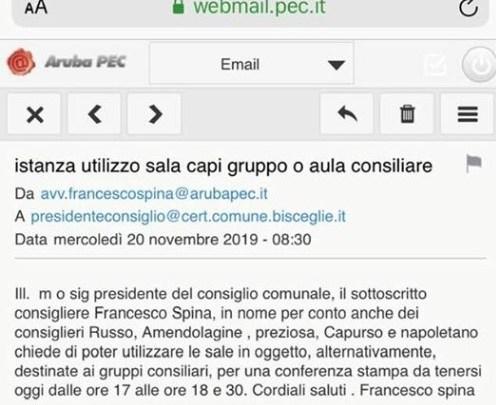 Minoranze fuori da Palazzo di città, Spina: «La richiesta era stata fatta per tempo e per Pec»