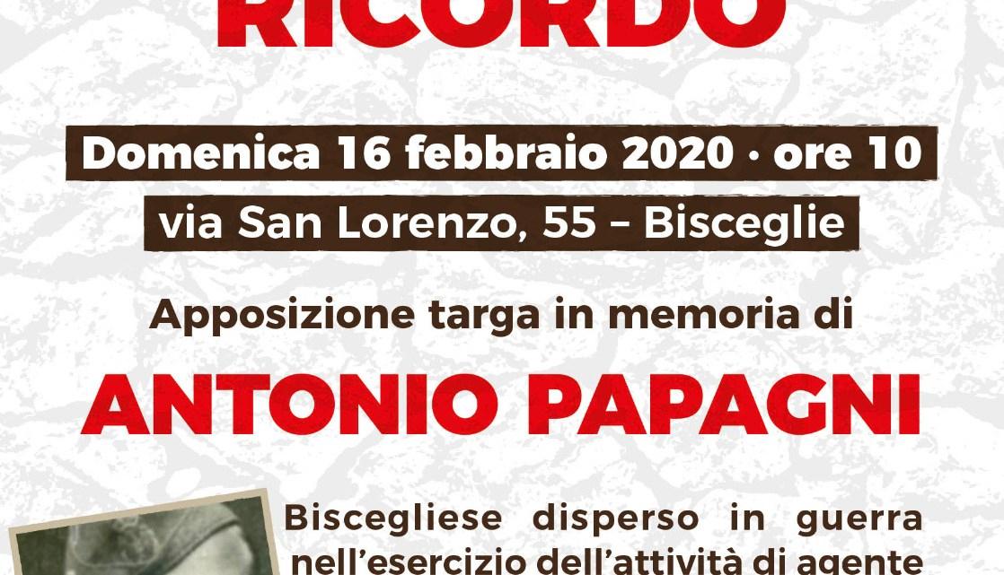 Giorno del Ricordo: Bisceglie commemora Antonio Papagni, il 16 febbraio apposizione targa