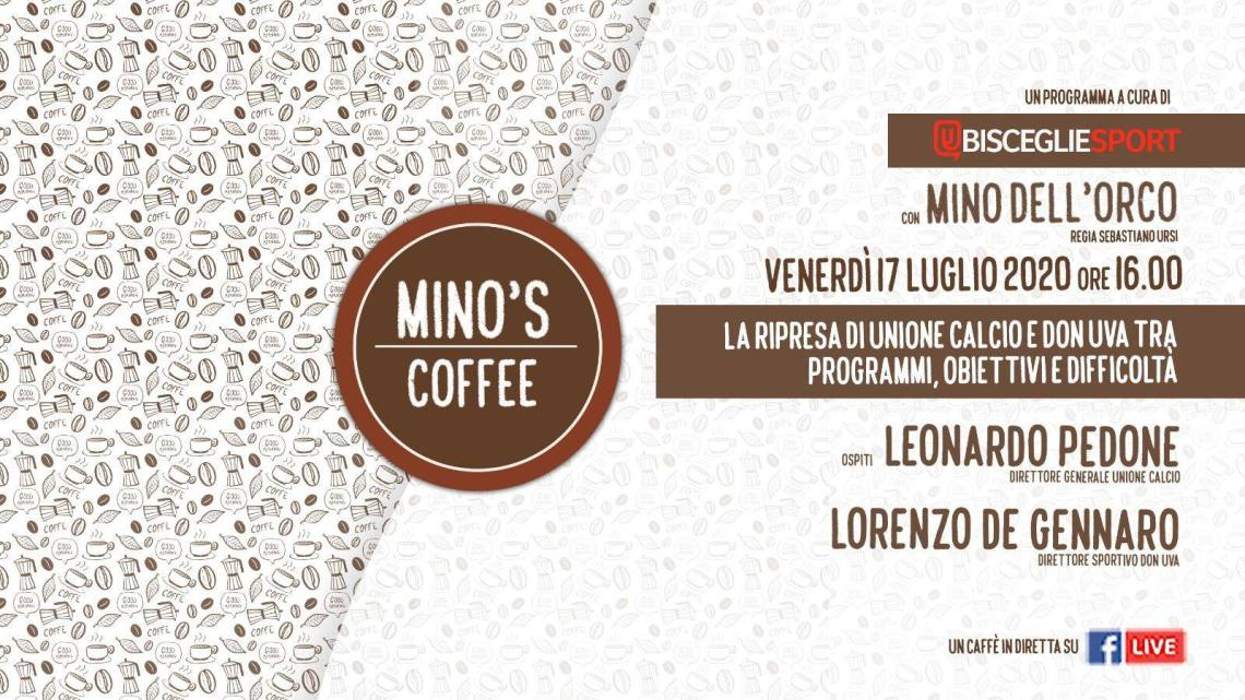 """Sport in streeming, torna """"Mino's coffee"""" con la ripresa delle attività di Unione Calcio e Don Uva"""