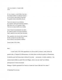 Je Vis, Je Meurs : meurs, Commentaire, Poème, Meurs, Louise, Labé, Rapports, Stage, Playback