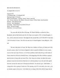 Comment Rédiger Une Critique De Film : comment, rédiger, critique, Critique, BEAN'S, HOLIDAYS, Peter, Bennet, Jones, (document, Anglais), Mémoires, Gratuits, Paco441