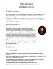 Dom Juan - Molière - BAC DE FRANCAIS 2021 : Fiches de