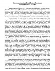 Jean Rouaud Les Champs D'honneur : rouaud, champs, d'honneur, Commentaire, L'extrait, Champs, D'honneur, Rouaud, Texte, Claire