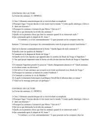 La Ferme Des Animaux Analyse 3eme : ferme, animaux, analyse, Controle, Lecture, Ferme, Animaux