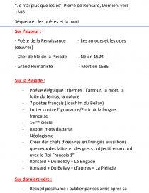 Je N'ai Plus Que Les Os Analyse : analyse, Fiche, Français,, Pierre, Ronsard,, Azerty2345