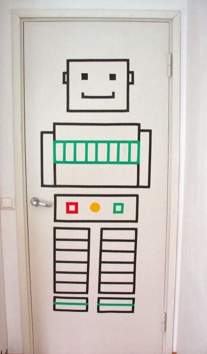 Washi Tape Robot For A Kids Room Door Art Masking Amp Washi in Kids Room Door
