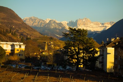 Talvera Promenade, views of the Dolomites