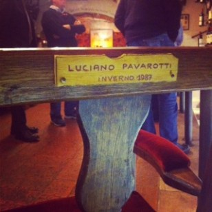 He sat here in the restaurant Dodici Apostile in Verona