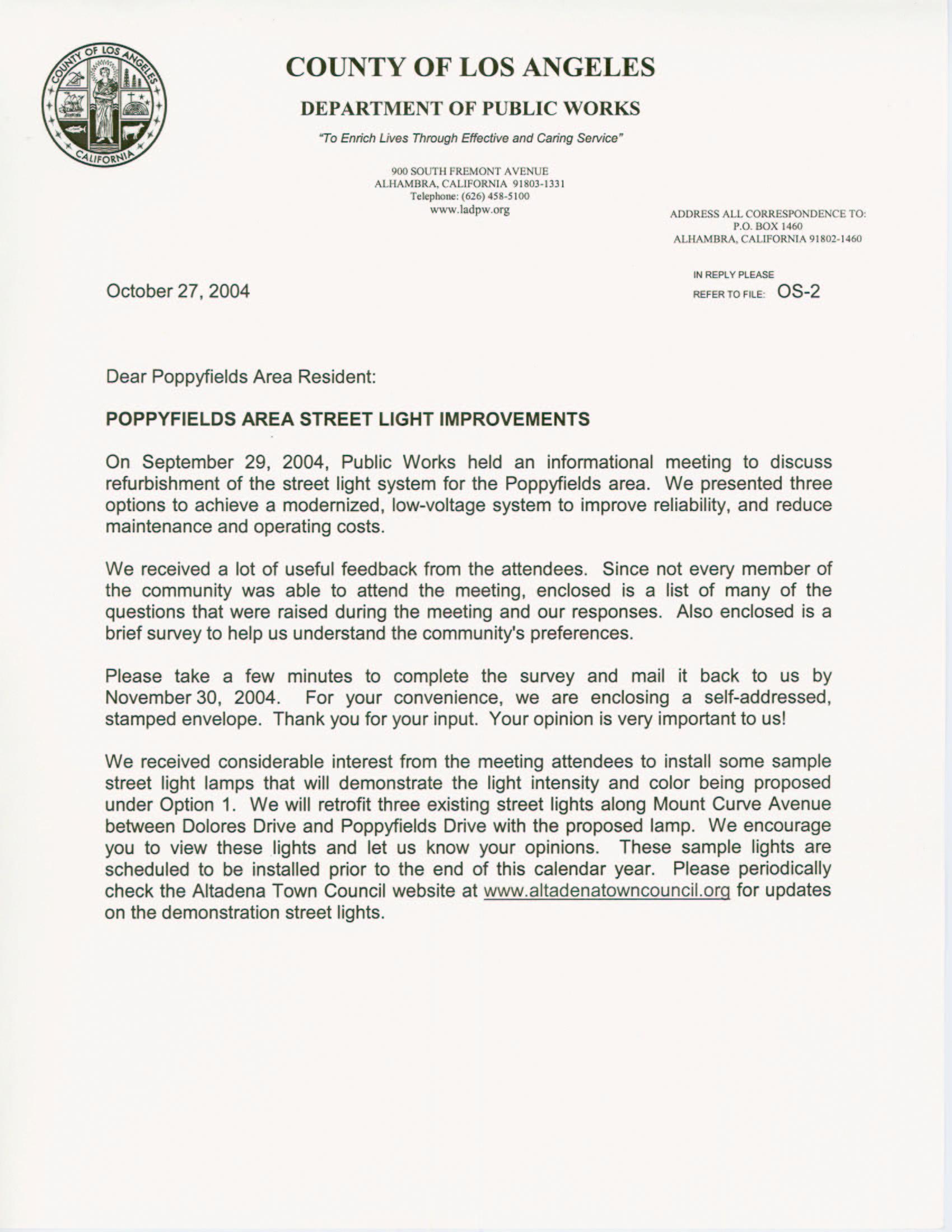 Cover letter regarding 1st community meeting