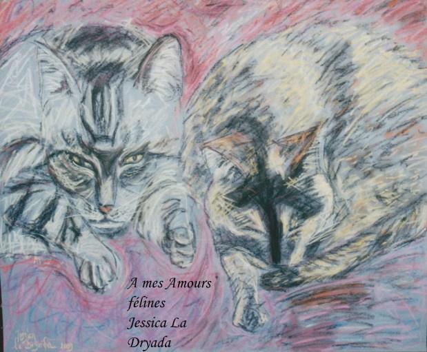 ~ A mes Amours Félines ~Pastel sur papier 50/60cm ~ 2009 ~