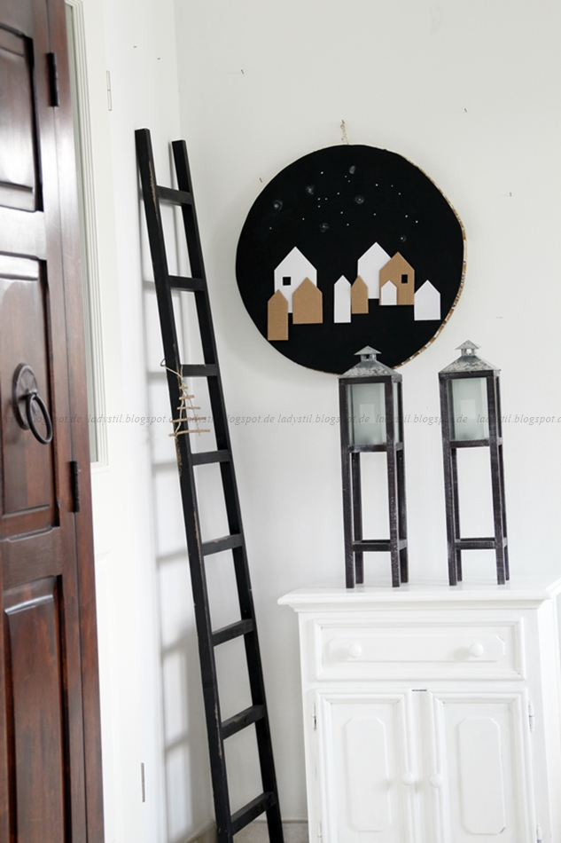 Weihnachtliche Deko im Wohnzimmer, DIY aus Astscheiben, Girlande aus Astscheiben, weihnachtliches Wohnzimmer,