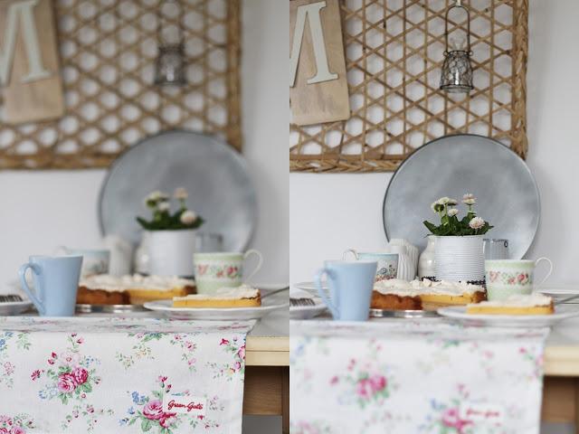 Gedeckter Tisch GreenGate Tassen und Tischläufer, belgische Citrontarte, Zitronentarte
