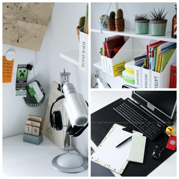 Collage mit Regalansicht Schreibtischüberblick