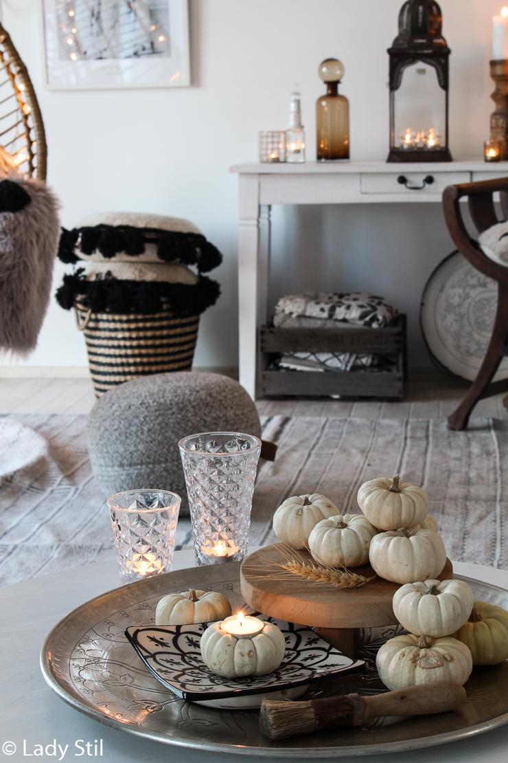 DIY Kürbis Teelicht Herbst Deko Idee