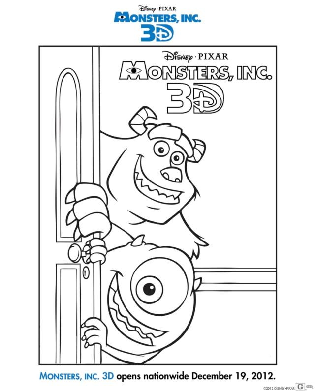 Free Monsters Inc 23D Activity Sheets: Download Coloring Pages Here