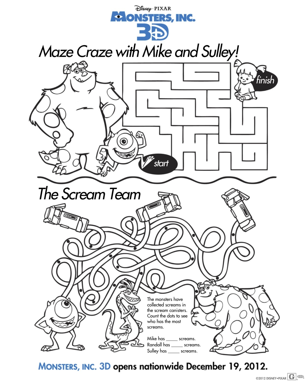Free Monsters Inc 3D Activity Sheets: Download Coloring
