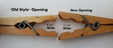 Opening of clothespins comparision