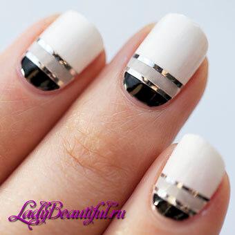 дизайн ногтей геометрия со стразами 2