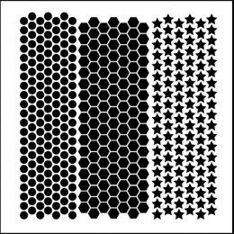 Dots, Honeycomb and Stars Stencil - TWC