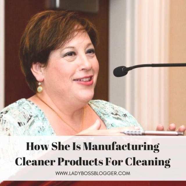 Female entrepreneur lady boss blogger Alison Gutterman cleaning manufacturer