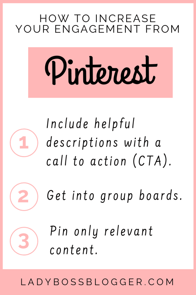 How To Increase Engagement From Pinterest LadyBossBlogger.com