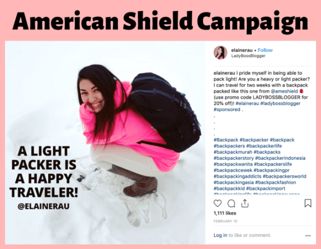 American Shield backpack influencer Elaine Rau