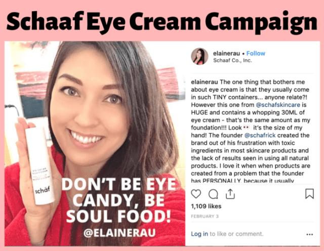 Skincare eye cream influencer Elaine Rau