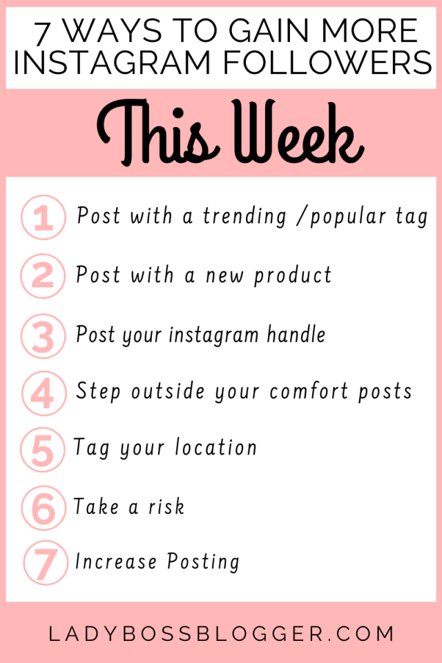 7 Ways To Gain More Instagram Followers This Week ladybossblogger.com