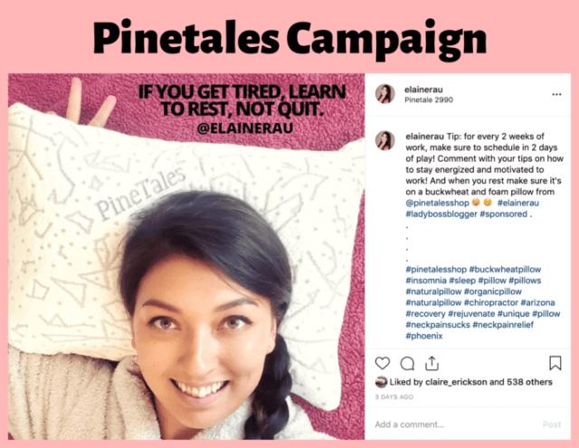 Pinetales pillow instagram influencer elaine rau 2
