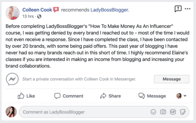 colleen cook review ladybossblogger course