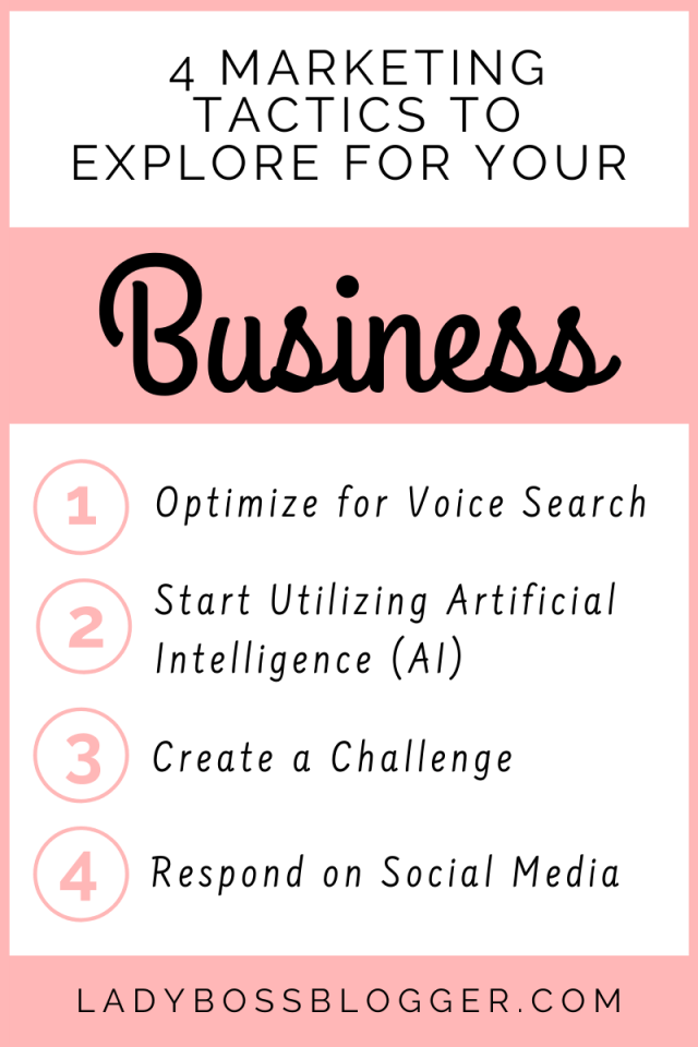 4 Marketing Tactics To Explore For Your Business LadyBossBlogger.com