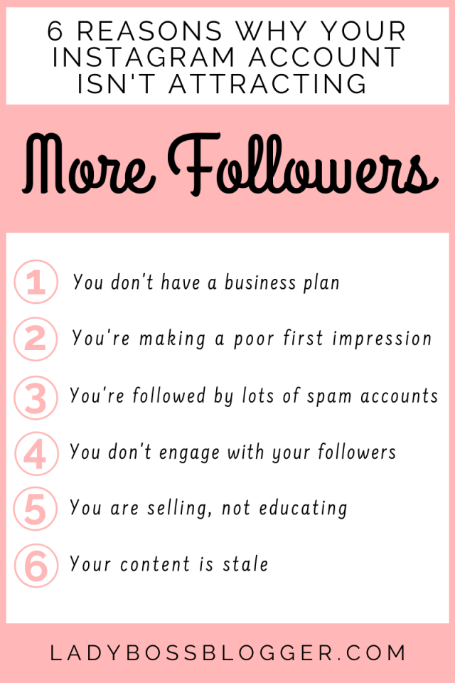 6 Reasons Why Your Instagram Account Isn't Attracting More Followers ladybossblogger.com